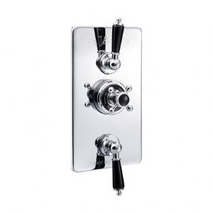 St James Concealed Classical Thermostatic Shower Valve, Diverter & Integral Flow Valve-SJ7761-LHLLBK